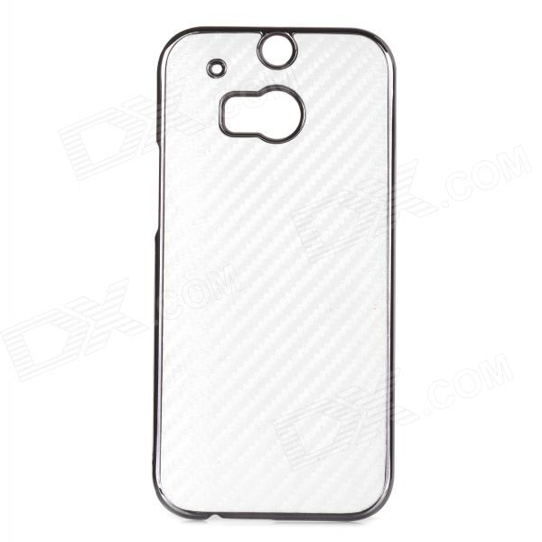 Simple Stylish ABS + PU Back Case for HTC M8 - White