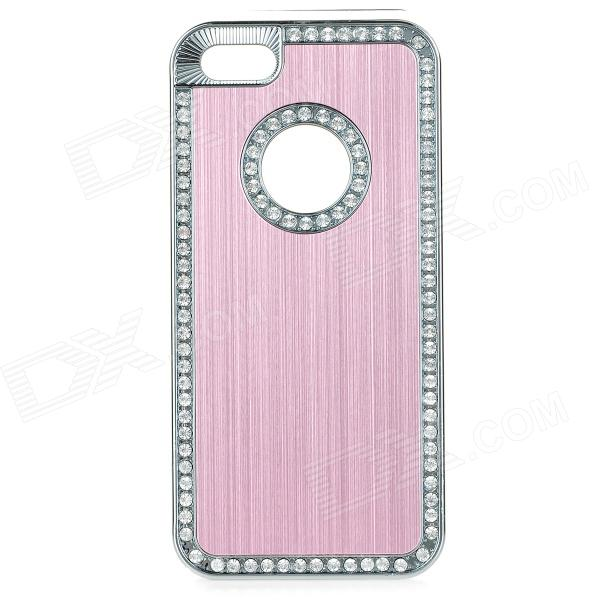 cqda ABS + Aluminum Protetive Rhinestone Inlaid Back Case for IPHONE 5 / 5S - Light Pink + Silver cute girl pattern protective rhinestone decoration back case for iphone 5 light pink light blue