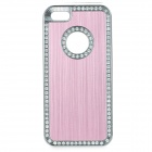 cqda ABS + Aluminum Protetive Rhinestone Inlaid Back Case for IPHONE 5 / 5S - Light Pink + Silver
