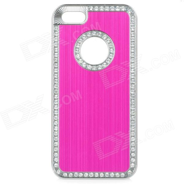 cqda ABS + Aluminum Protetive Rhinestone Inlaid Back Case for IPHONE 5 / 5S - Deep Pink + Silver cartoon pattern matte protective abs back case for iphone 4 4s deep pink