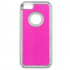 cqda ABS + Aluminum Protetive Rhinestone Inlaid Back Case for IPHONE 5 / 5S - Deep Pink + Silver