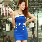 Stylish Strapless Elastic Skinny Mini Dress - Deep Blue