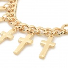 BR-7189 fashionabla Cross prydnad Charm Bracelet - Golden