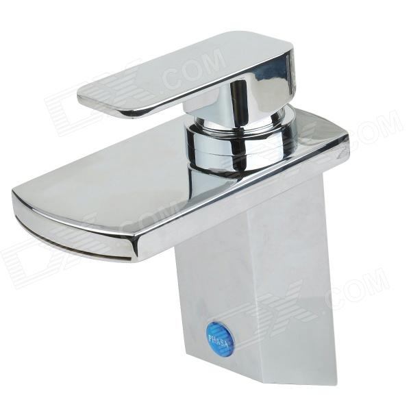 PHASAT 4913 Waterfall Brass Bathroom Faucet - Silver