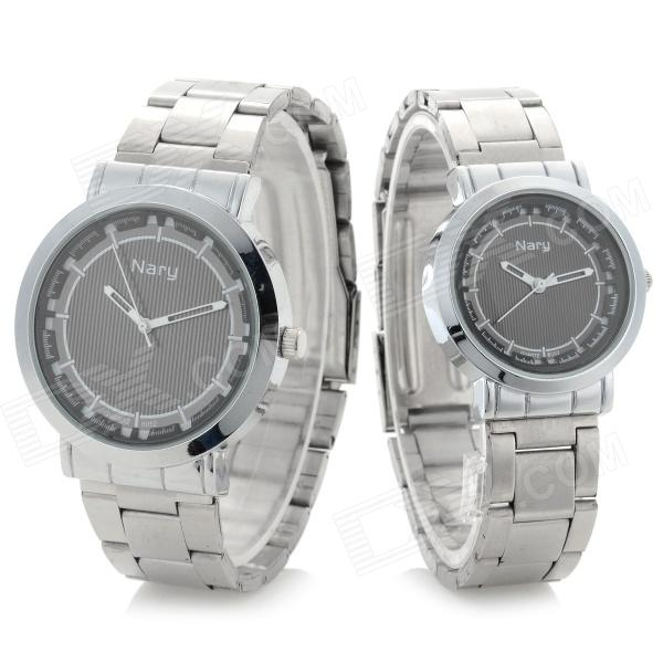 NARY Classic Casual Analog Quartz Wristwatch for Couple / Lover - Black (Pair)