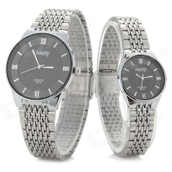 NARY Classic Analog Quartz Wristwatch for Couple / Lover - Black (1 x SR626 / Pair)