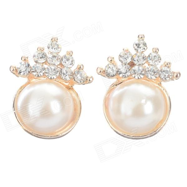 ZZED002 Stylish Pearl + Shiny Rhinestone Studded Earring - White + Golden (2 PCS)