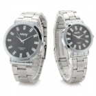 NARY 6005 Stainless Steel Band Quartz Wristwatch for Lovers & Couples - Black (Pair / 1 x SR626)