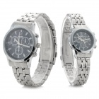 NARY Classic Round Dial Analog Quartz Wristwatch for Couple / Lover - Sapphire Blue (Pair)
