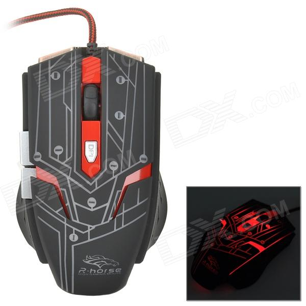 R.horse FC-1700 USB 2.0 Wired LED Gaming Mouse - Black + Red fc 143 usb 2 0 wired 1600dpi led gaming mouse black cable 120cm