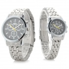 NARY Classic Round Dial Analog Quartz Wristwatch for Couple / Lover - Black (Pair)