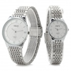 NARY Classic Analog Quartz Wristwatch for Couple - White (1 x SR626 / Pair)
