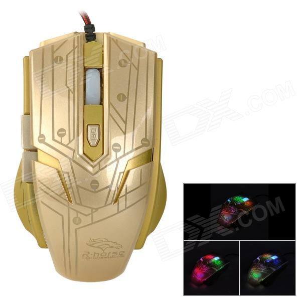 R.horse FC-1700 USB 2.0 Wired LED Gaming Mouse - Golden
