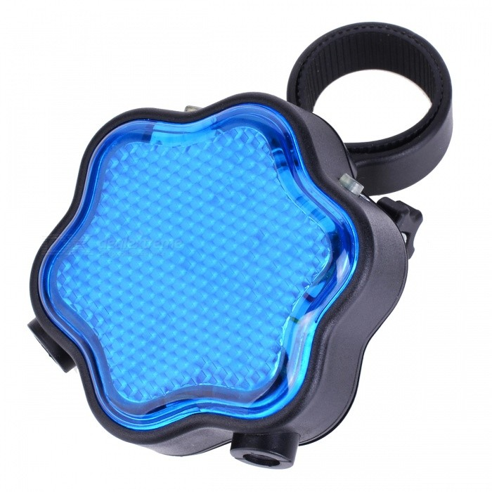 Plum Blossom Pattern 7-mode Blue Light LED Tail Lamp w/ Red Laser for Bike - Blue + Black