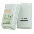 Replacement Rechargeable 500mAh Ni-MH Battery + Charger Set for XBOX 360 / XBOX 360 Slim - White
