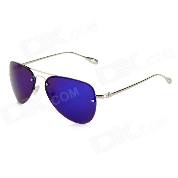 F225 Fashionable Zinc Alloy Frame Resin Lens UV400 Protection Sunglasses - Silver clip on uv400 protection resin lens attachment sunglasses small