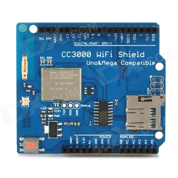 CC3000 Wi-Fi Shield Module w/ Micro SD Card Slot for Arduino Mega2560 / R3 - Deep Blue nokia 5110 lcd module white backlight for arduino uno mega prototype