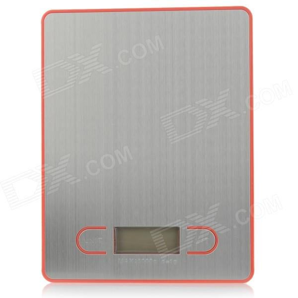 1.7'' LCD Screen Display Electronic Household Kitchen Scale - Sliver + Red (2 x AAA) 1 5 lcd digital electronic scale 2 x aaa