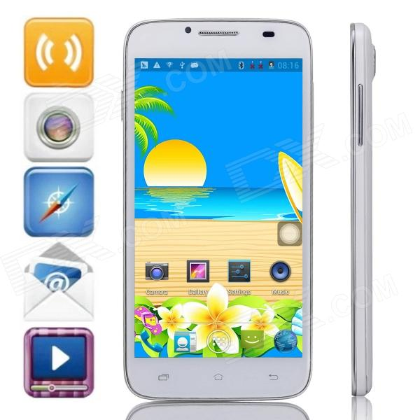 Mpie H118+ MTK6582 Quad-Core Android 4.2.2 WCDMA Bar Phone w/ 5.0 IPS, 4GB ROM, Wi-Fi, GPS - White mpie t6s quad core android 4 4 2 wcdma bar phone w 5 5 hd 2gb ram 4gb rom wi fi gps black