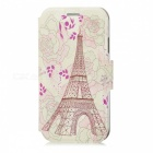 Kinston Flower Tower Pattern PU Leather Case Cover w/ Stand / Card Slot for Samsung Galaxy S4 i9500