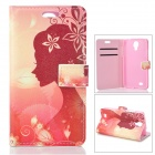Kinston Goddess of Flowers Pattern PU Leather Case Cover w/ Stand / Card Slot for Samsung Galaxy S4
