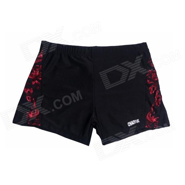 HL-51 Men's Polyester Boxer Swimming Trunks - Black + Red (L)