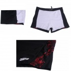 Men's Polyester Boxer Swimming Trunks - Black + Red (L)