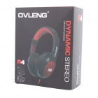 Stylish Stereo Headphones with Microphone for IPHONE - Red + Black (3.5mm Plug / 1.4m)