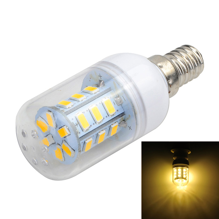 Marsing L11 E14 4W 400lm 3000K 27-SMD 5730 LED Warm White Corn Lamp - Branco + Amarelo (AC 220 ~ 240V)