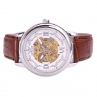 Sewor M120-1 Fashion Skeleton Big Dial Leather Band Men's Auto Mechanical Wrist Watch