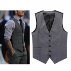 Cool Stylish Men's Slim Casual Suit Tank Tops Vest - Grey (Size L)