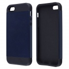 Fashionable PC and Silicone Slim Armor Back Case for IPHONE 5 / 5S - Black + Cyan