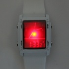 YuanBoTong WCH01 Analog + Digital LED Red Light Watch w/ Stopwatch / Calendar - White (1 x CR2032)