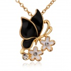 Women's Elegant Flower Shaped Gold Plated Necklace - Gold + Black