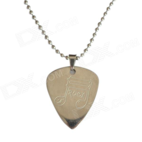 DEDO MG-15 Music Note Pattern Stainless Steel Guitar Pick / Pendant Necklace - Silver