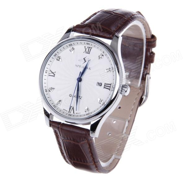 SPEATAC SP9046G Men's Stainless Steel Band Analog Quartz Wrist Watch w/ Calendar - Coffee (1xLR626) keep in touch couple watches for lovers luminous luxury quartz men and women lover watch fashion calendar dress wristwatches