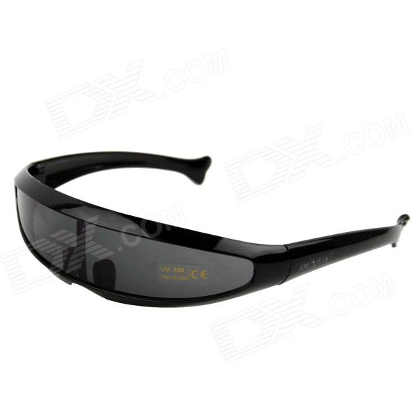 OUMILY Fishtail Style PC Lens UV400 Protection Cycling Sunglasses - Black