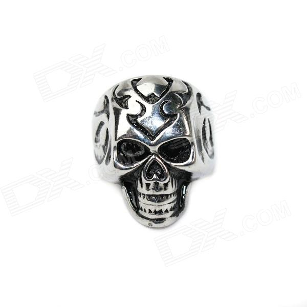 Skull Style Stainless Steel Finger Ring - Silver (U.S Size 9) cool punk skull style stainless steel ring silver u s size 9