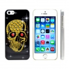 Ruby Skull Design Pattern Print Plastic Case for IPHONE 5 / 5s - Black + Yellow