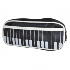 DEDO MG-24 Piano Keyboard Style Zippered Water-resistant Oxford Stationery Pencil Bag - Black
