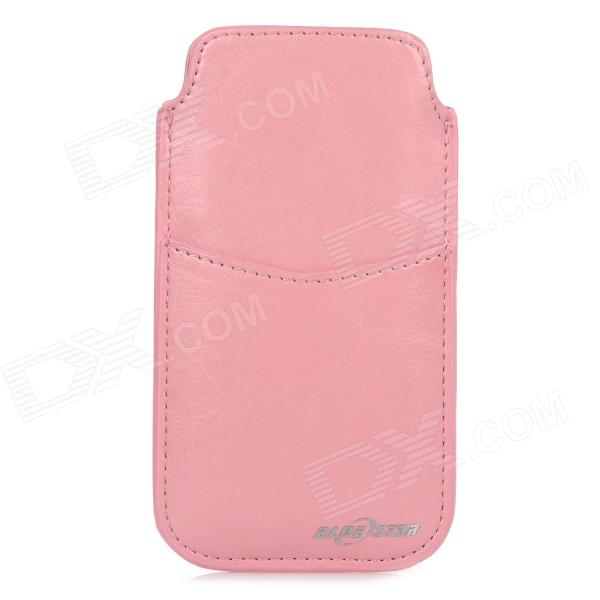BLUESTAR Stylish Protective PU Pouch Bag w/ Card Slot for IPHONE 5S / 5 / 5C / 4S / 4 - Pink ipega i5056 waterproof protective case for iphone 5 5s 5c pink