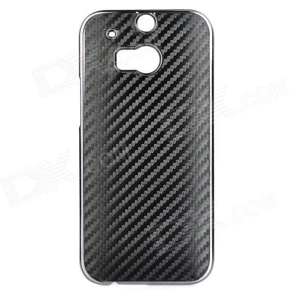Straw Mat Pattern Protective ABS + PU Back Case for HTC M8 - Black