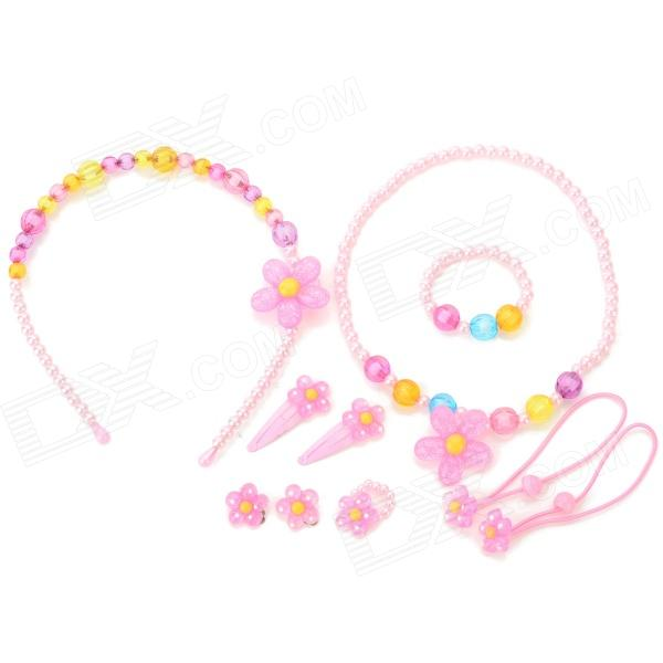 Girls' Hair Band + Hair Ring + Necklace + Hair Clip + Ring + Bracelet + Clip Ear Stud Set - Pink girls cat ears hair clips hairpin children hair accessories clip kids hairpins barrettes baby bow headwear 2pieces lot