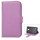 YI-YI Protective Flip-open Sheep Skin Case w/ Stand + Card Slot for Samsung Galaxy S5 - Purple
