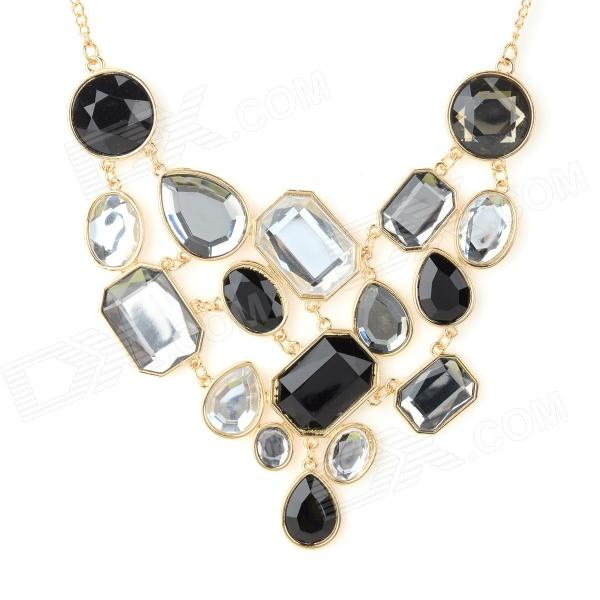 NC-5273 Women's Zinc Alloy Artificial Stones Pendant Necklace - Golden + Black + Silver