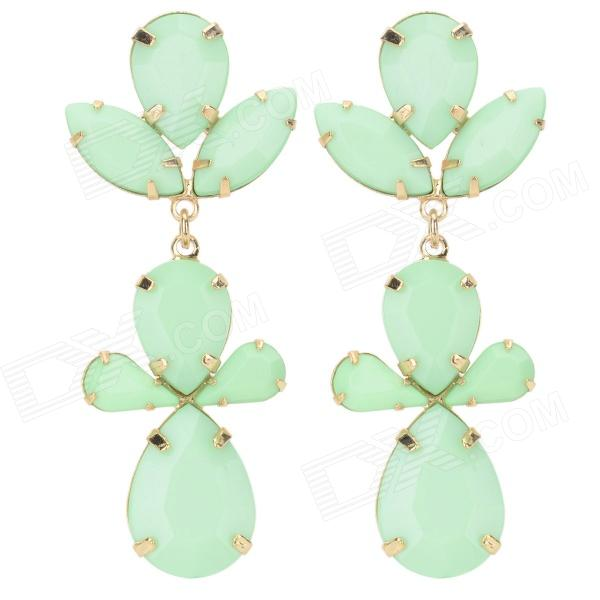 ER-5302 Women's Fashionable Leaf Style Zinc Alloy Earrings - Green (Pair) women s creative police box style zinc alloy earrings for valentine s day silver green pair