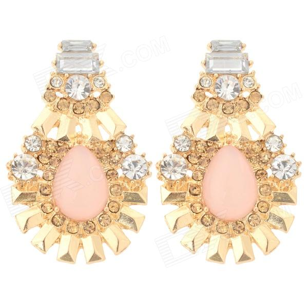 ER-3843 Women's Sunflower Style Artificial Stone Inlaid Zinc Alloy Earrings - Golden + Pink (Pair) three dimensional adjustable zinc alloy connector for gopro 3 3 2 golden