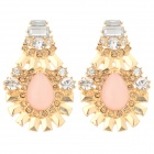 ER-3843 Women's Sunflower Style Artificial Stone Inlaid Zinc Alloy Earrings - Golden + Pink (Pair)