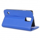 YI-YI Protective Flip-open Sheep Skin Case w/ Stand + Card Slot for Samsung Galaxy S5 - Blue