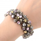 Fashionable Shiny Rhinestone Inlaid Zinc Alloy Bracelet for Women - Silver + Multicolored